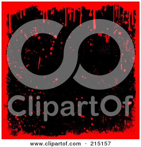 Royalty-Free (RF) Clipart Illustration of a Black Background With Red Blood Splats And Drips by KJ Pargeter