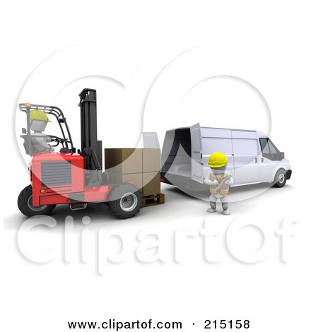 Royalty-Free (RF) Clipart Illustration of a 3d Forklift Driver Loading Boxes In A Van by KJ Pargeter