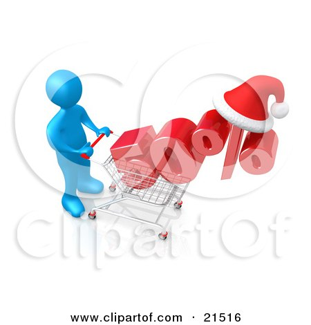 Clipart Illustration of a Blue Person Pushing A Chrome Shopping Cart With A Half Off Item And A Santa Hat by 3poD