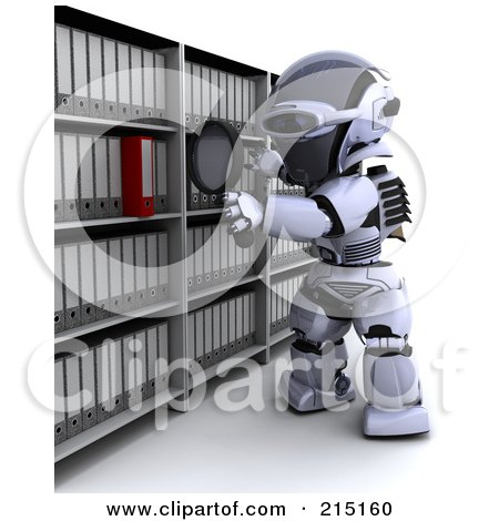 Royalty-Free (RF) Clipart Illustration of a 3d Robot Looking For A Folder In Archives by KJ Pargeter