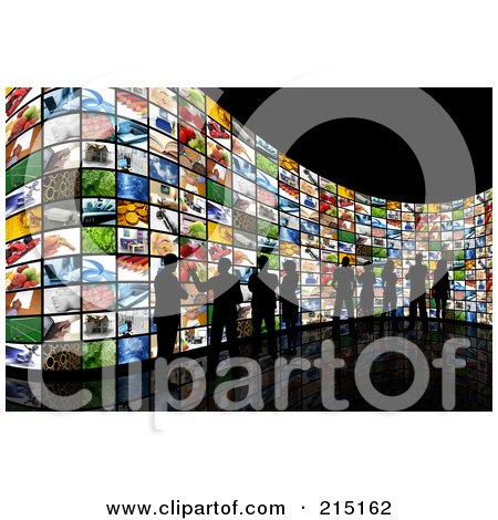 Royalty-Free (RF) Clipart Illustration of a Silhouetted People Viewing Screens Over Black by KJ Pargeter