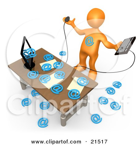 Clipart Illustration of an Overwhelmed Orange Person Being Attacked By At Symbols Coming Out Of A Computer In An Office, Symbolizing Computer Viruses Or Email Spamming by 3poD