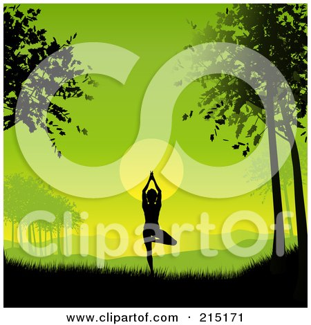 Royalty-Free (RF) Clipart Illustration of a Silhouetted Yoga Woman Against A Green Dawn by KJ Pargeter