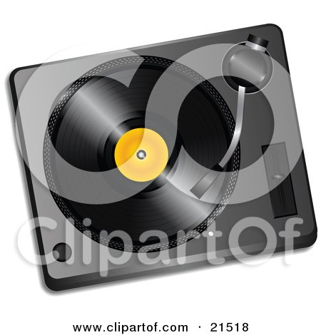 Clipart Illustration of a Black Vinyl Record With A Yellow Label, Spinning In A Record Player by elaineitalia