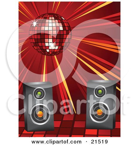 Clipart Illustration of a Shiny Red Disco Ball Spinning And Casting Light Over Speakers At A Dance Party by elaineitalia