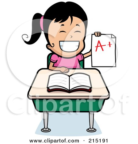 Royalty-Free (RF) Clipart Illustration of a Black Haired School Girl Holding Up An A Plus Report Card And Sitting At Her Desk by Cory Thoman