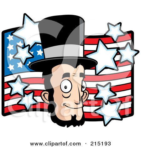 Royalty-Free (RF) Clipart Illustration of Abe Lincoln's Face Over An American Flag by Cory Thoman