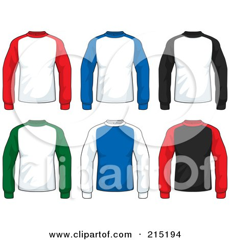 Royalty-Free (RF) Clipart Illustration of a Digital Collage Of Colorful Long Sleeved Jersey Shirts by Cory Thoman