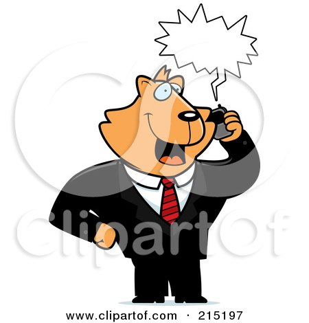 Royalty-Free (RF) Clipart Illustration of a Cat Businessman Talking On A Cell Phone With A Word Balloon by Cory Thoman