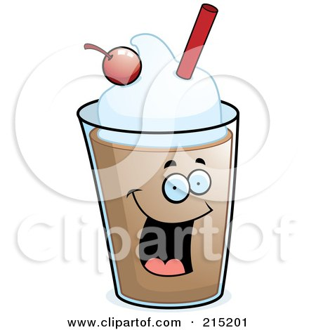Royalty-Free (RF) Clipart Illustration of a Happy Chocolate Milkshake With A Cherry And Straw by Cory Thoman