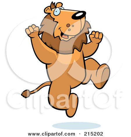 Royalty-Free (RF) Clipart Illustration of an Excited Lion Jumping by Cory Thoman