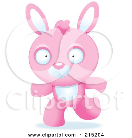 Royalty-Free (RF) Clipart Illustration of a Running Pink Rabbit by Cory Thoman