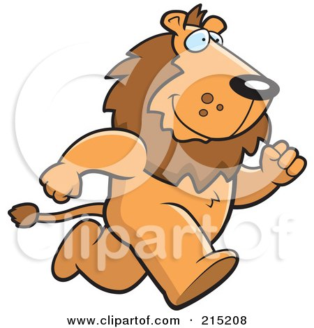 Royalty-Free (RF) Clipart Illustration of a Lion Running Upright On His Hind Legs by Cory Thoman