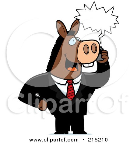Royalty-Free (RF) Clipart Illustration of a Donkey Businessman Talking On A Cell Phone With A Word Balloon by Cory Thoman