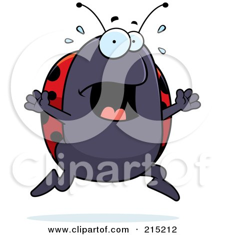 Royalty-Free (RF) Clipart Illustration of a Scared Ladybug Panicking by Cory Thoman