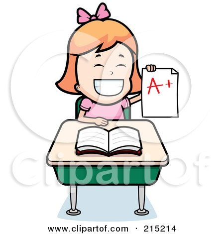 Royalty-Free (RF) Clipart Illustration of a Red Haired School Girl Holding Up An A Plus Report Card And Sitting At Her Desk by Cory Thoman