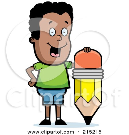 Royalty-Free (RF) Clipart Illustration of a Happy Black Boy Leaning On A Stubby Pencil by Cory Thoman