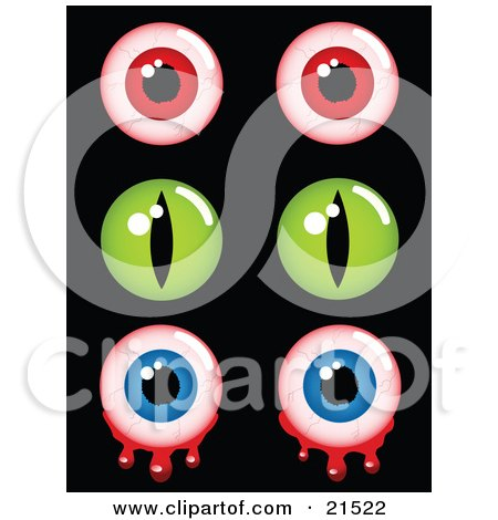 Clipart Illustration of a Collection Of Creepy Halloween Eyes, Pairs Of Red Bloodshot, Green And Bloody Blue Eyeballs by elaineitalia