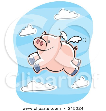 Royalty-Free (RF) Clipart Illustration of a Winged Pig Flying In A Cloudy Blue Sky by Cory Thoman