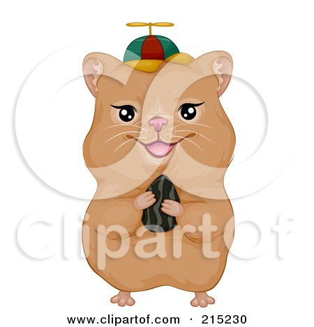Royalty-Free (RF) Clipart Illustration of a Cute Hamster Holding A Seed And Wearing A Spinner Hat by BNP Design Studio