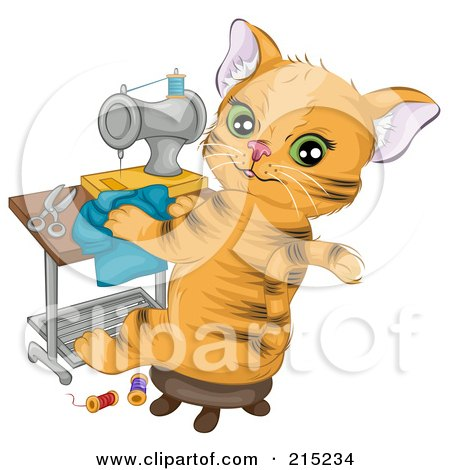 Royalty-Free (RF) Clipart Illustration of a Cute Ginger Cat Sitting In A Chair And Sewing A Shirt by BNP Design Studio