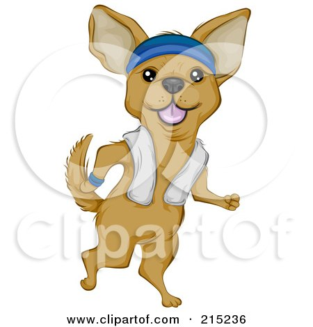 Royalty-Free (RF) Clipart Illustration of a Cute Chihuahua Jogging Upright, A Towel Over His Shoulders by BNP Design Studio