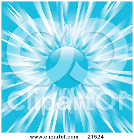 Clipart Illustration of a Wintry Blue Sun With White, Dark And Pale Blue Rays Over A Blue Background by elaineitalia