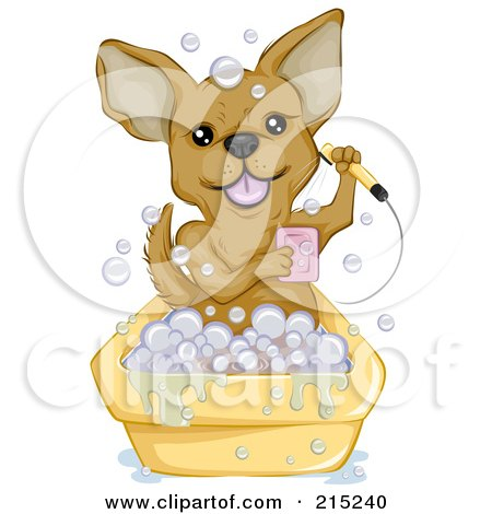 Royalty-Free (RF) Clipart Illustration of a Cute Chihuahua Taking A Bubble Bath by BNP Design Studio