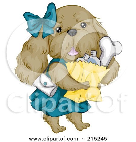 Royalty-Free (RF) Clipart Illustration of a Cute Cocker Spaniel Dog Carrying Groceries by BNP Design Studio