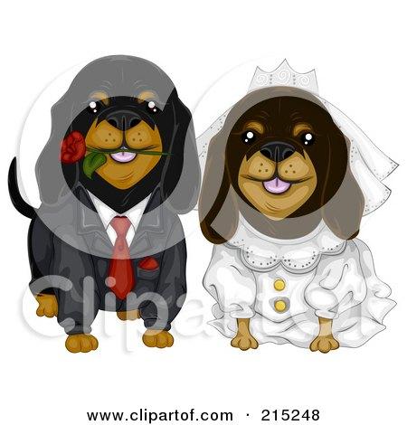 Royalty-Free (RF) Clipart Illustration of a Daschund Dog Wedding Couple by BNP Design Studio