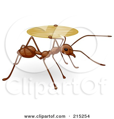 Royalty-Free (RF) Clipart Illustration of a Cute Brown Ant Carrying A Tray by BNP Design Studio