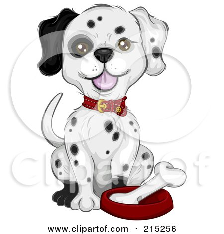 Royalty-Free (RF) Clipart Illustration of a Dalmatian Puppy Sitting By A Bone In A Dish by BNP Design Studio