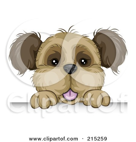 Royalty-Free (RF) Clipart Illustration of a Cute Brown Dog Looking Over A Board by BNP Design Studio