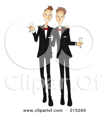 Royalty-Free (RF) Clipart Illustration of a Happy Gay Couple Getting Married by BNP Design Studio
