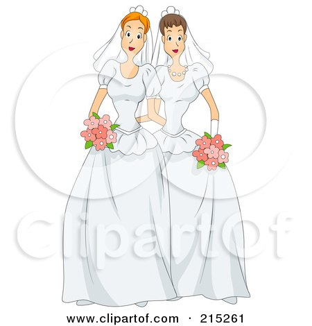 Royalty-Free (RF) Clipart Illustration of a Lesbian Couple In Wedding Gowns by BNP Design Studio