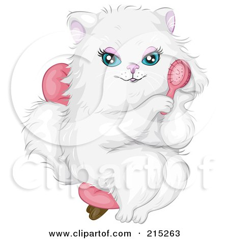Royalty-Free (RF) Clipart Illustration of a Prissy White Cat Wearing A Pink Bow, Sitting In A Chair And Brushing Her Hair by BNP Design Studio