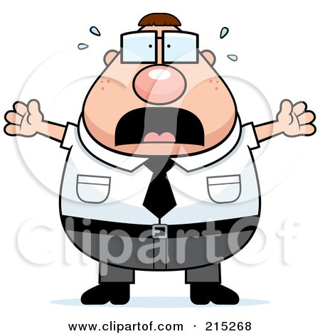 Royalty-Free (RF) Clipart Illustration of a Scared Plump Businessman by Cory Thoman