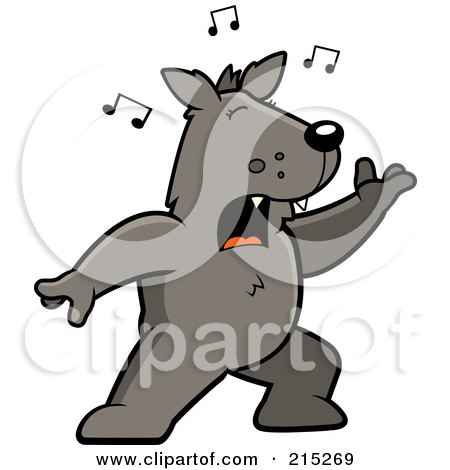 Royalty-Free (RF) Clipart Illustration of a Singing Wolf With Music Notes by Cory Thoman