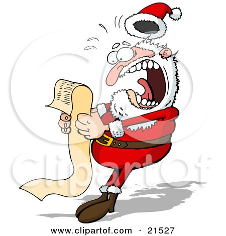 Clipart Illustration of Santa Claus Screaming In Shock While Reading A Long Wish List From A Child by Holger Bogen