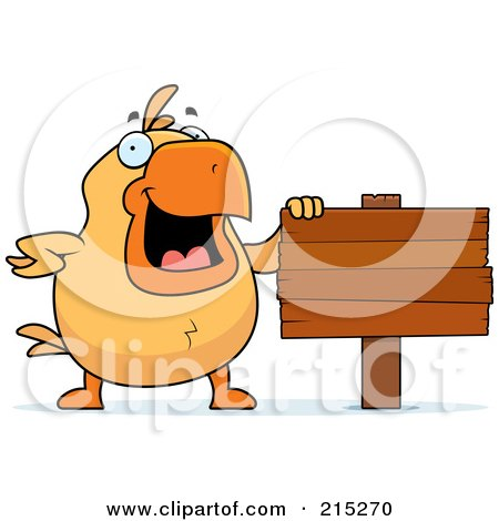 Royalty-Free (RF) Clipart Illustration of a Chick Beside A Blank Wooden Sign by Cory Thoman