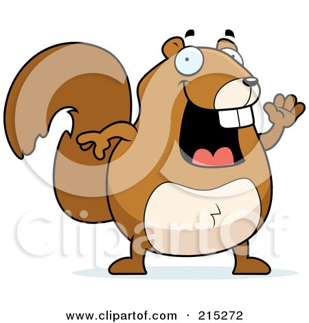 Royalty-Free (RF) Clipart Illustration of a Happy Squirrel Waving by Cory Thoman