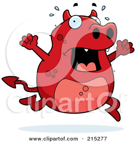 Royalty-Free (RF) Clipart Illustration of a Stressed Red Devil Panicking by Cory Thoman