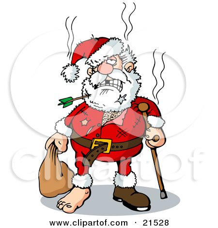 Clipart Illustration of Beat Up Santa With An Arrow Through His Beard, Missing Teeth, Tears, A Cane, And A Missing Shoe by Holger Bogen