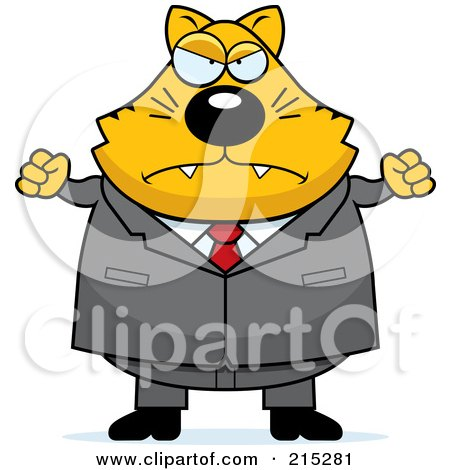 Royalty-Free (RF) Clipart Illustration of a Plump Mad Business Cat by Cory Thoman
