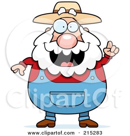 Royalty-Free (RF) Clipart Illustration of a Plump Senior Farmer With An Idea by Cory Thoman