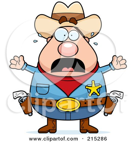 Royalty-Free (RF) Clipart Illustration of a Plump Scared Sheriff by Cory Thoman
