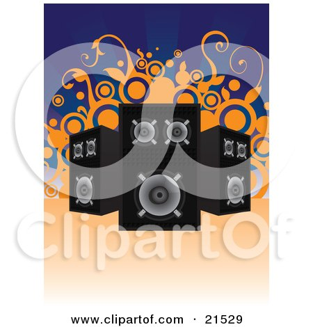 Clipart Illustration of Three Black And Chrome Stereo Speakers Facing Different Directions Over A Blue Background With Orange Vines And Circles by Paulo Resende