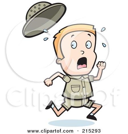 Royalty-Free (RF) Clipart Illustration of a Blond Safari Boy Running by Cory Thoman