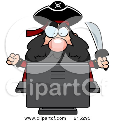 Royalty-Free (RF) Clipart Illustration of a Grumpy Pirate Using A Computer by Cory Thoman