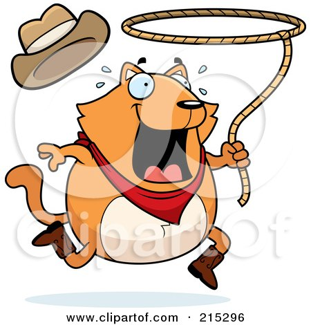 Chubby Orange Rodeo Cat With A Lasso Posters, Art Prints